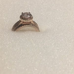 Jewelry - Rose gold toned SS CZ 3 Piece Ring Set
